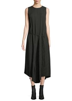 Vince Striped Sleeveless Self-Tie Midi Dress