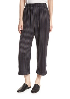 Vince Striped Slouchy Cropped Pull-On Pants