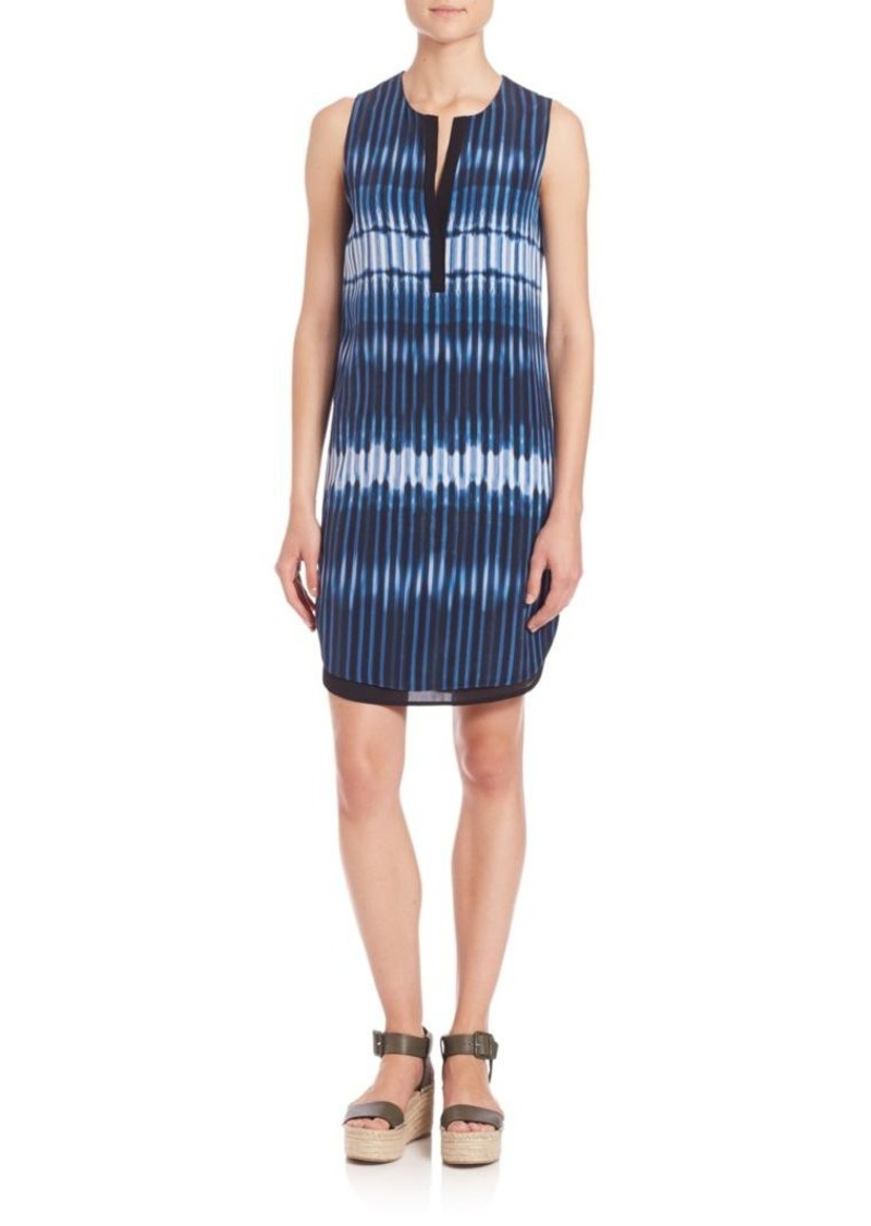 Vince Striped Tie-Dye Silk Dress