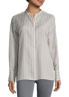 Vince Striped Tunic Silk Shirt
