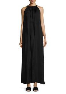 Vince Sunburst Pleated-Neck Maxi Dress