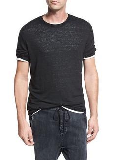 Vince Sweater-Trim Crewneck T-Shirt