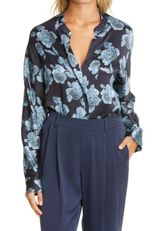Vince Tapestry Floral Silk Popover Blouse