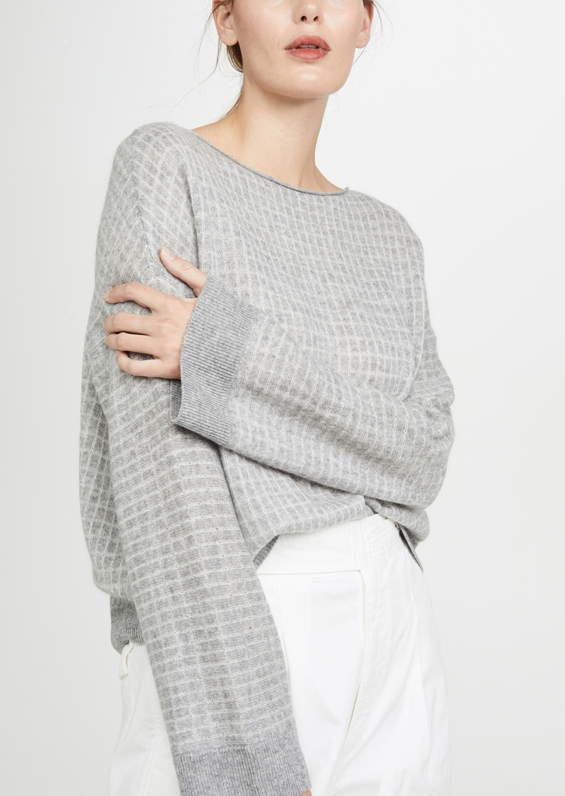 Vince Texture Grid Boat Neck Sweater