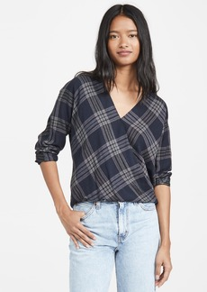 Vince Textured Plaid Crossover Blouse