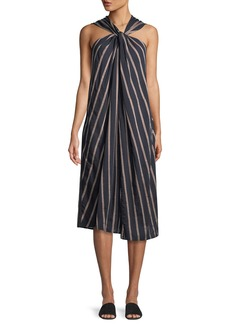 Vince Textured Stripe Twist-Front Halter Dress