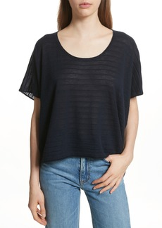 Vince Textured Stripe Wool & Cashmere Tee