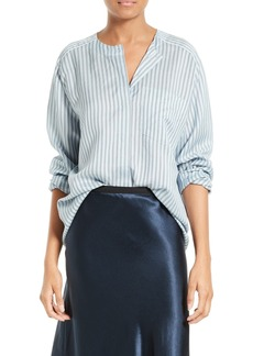 Vince Ticking Stripe Silk Blouse