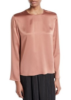 Vince Tie-Back Silk Long-Sleeve Blouse