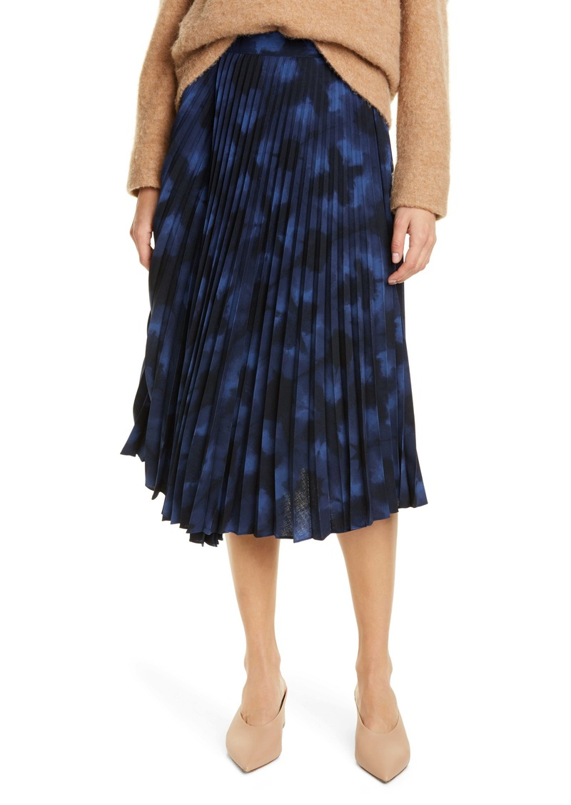 Vince Tie Dye Pleated Skirt