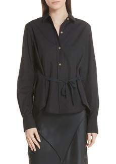 Vince Tie Front Cotton Blouse