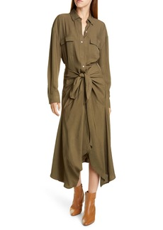 Vince Tie Front Long Sleeve Belted Shirtdress