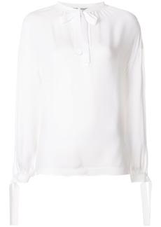 Vince tie front poet blouse - White