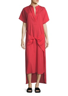 Vince Tie-Front Slit-Neck Short-Sleeve Long Poplin Dress