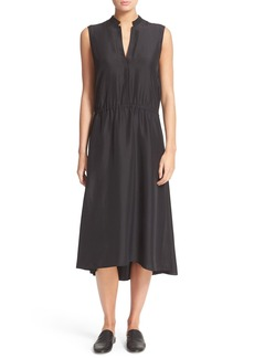 Vince Tie Waist Silk Midi Dress