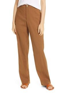 Vince Topstitch Seam Linen Blend Trousers