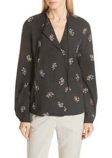 Vince Tossed Bouquet Tie Neck Silk Blouse