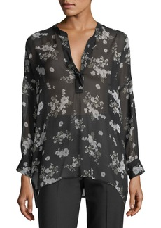 cf08a9bbd02320 On Sale today! Vince Vince Calico Floral Shirred Neck Blouse