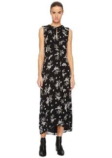 Vince Tossed Floral Side Drape Dress