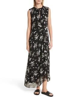 Vince Tossed Floral Side Drape Silk Maxi Dress