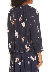 Vince Tossed Poppy Pleated Blouse