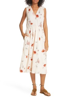 Vince Tossed Poppy Pleated Midi Dress
