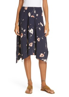 Vince Tossed Poppy Pleated Skirt