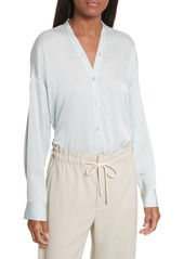 Vince Trapunto Stretch Silk Blouse