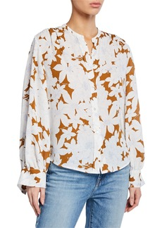 Vince Tropical Blooms Button-Front Shirred-Back Long-Sleeve Blouse