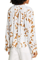 Vince Tropical Blooms Shirred Blouse