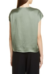 Vince Twist Detail Short Sleeve Silk Blouse