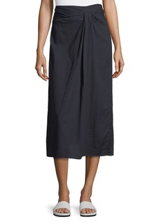 Vince Twist-Front A-Line Midi Cotton Skirt
