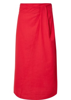 Vince Twisted cotton-gauze midi skirt
