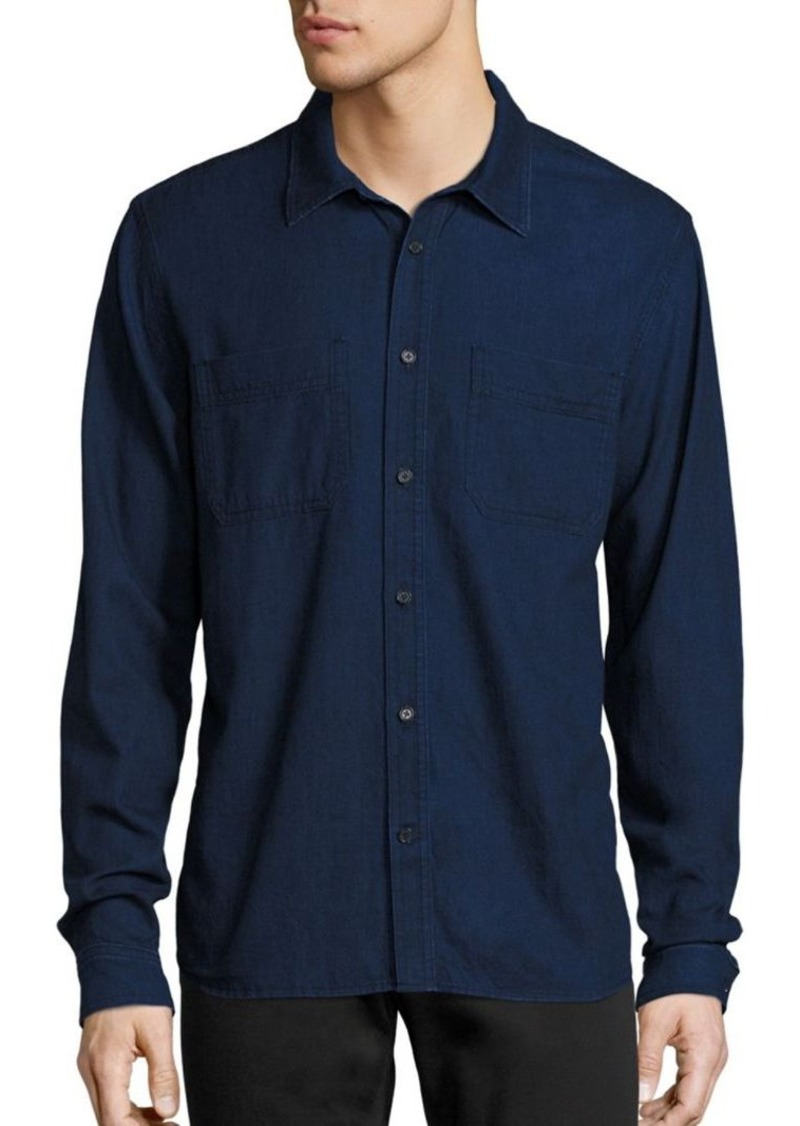 Vince Two Pocket Denim Button-Down Shirt