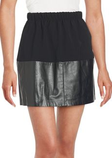 Vince Two-Tone Leather Gathered Skirt