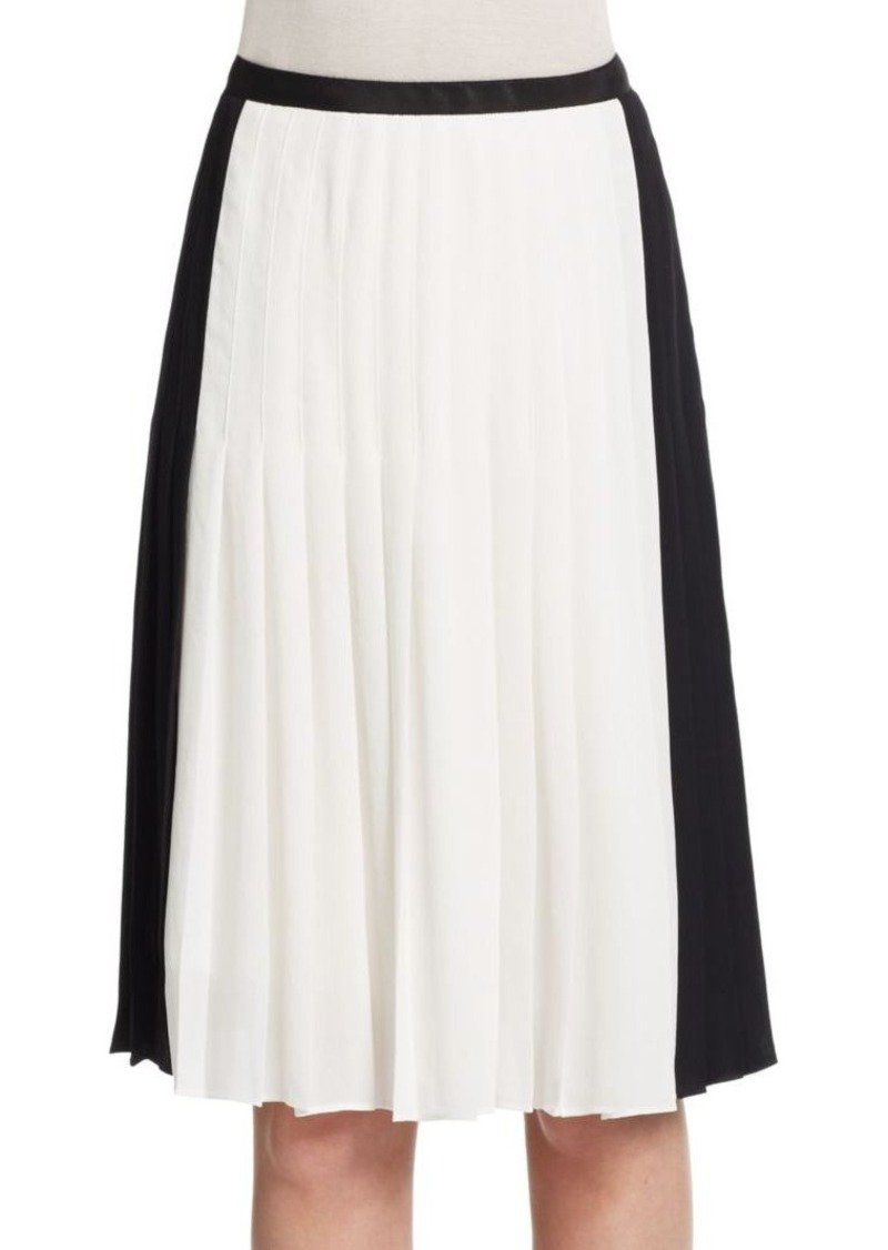 Vince Two-Tone Pleated Skirt