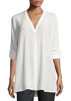Vince V-Neck Button-Front Silk Blouse