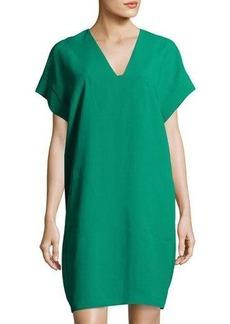 Vince V-Neck Cap-Sleeve Shift Dress