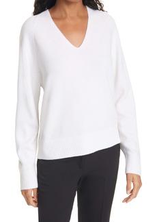 Vince V-Neck Ribbed Wool & Cashmere Blend Sweater