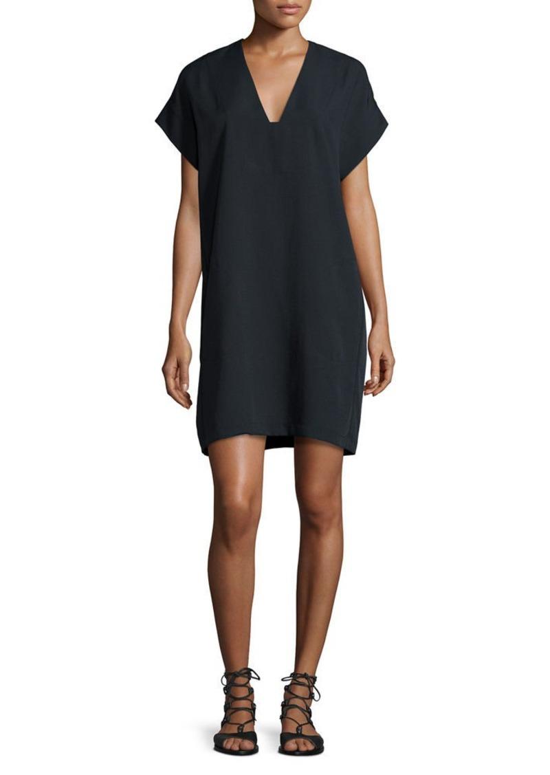 Vince V-Neck Short-Sleeve Popover Shift Dress