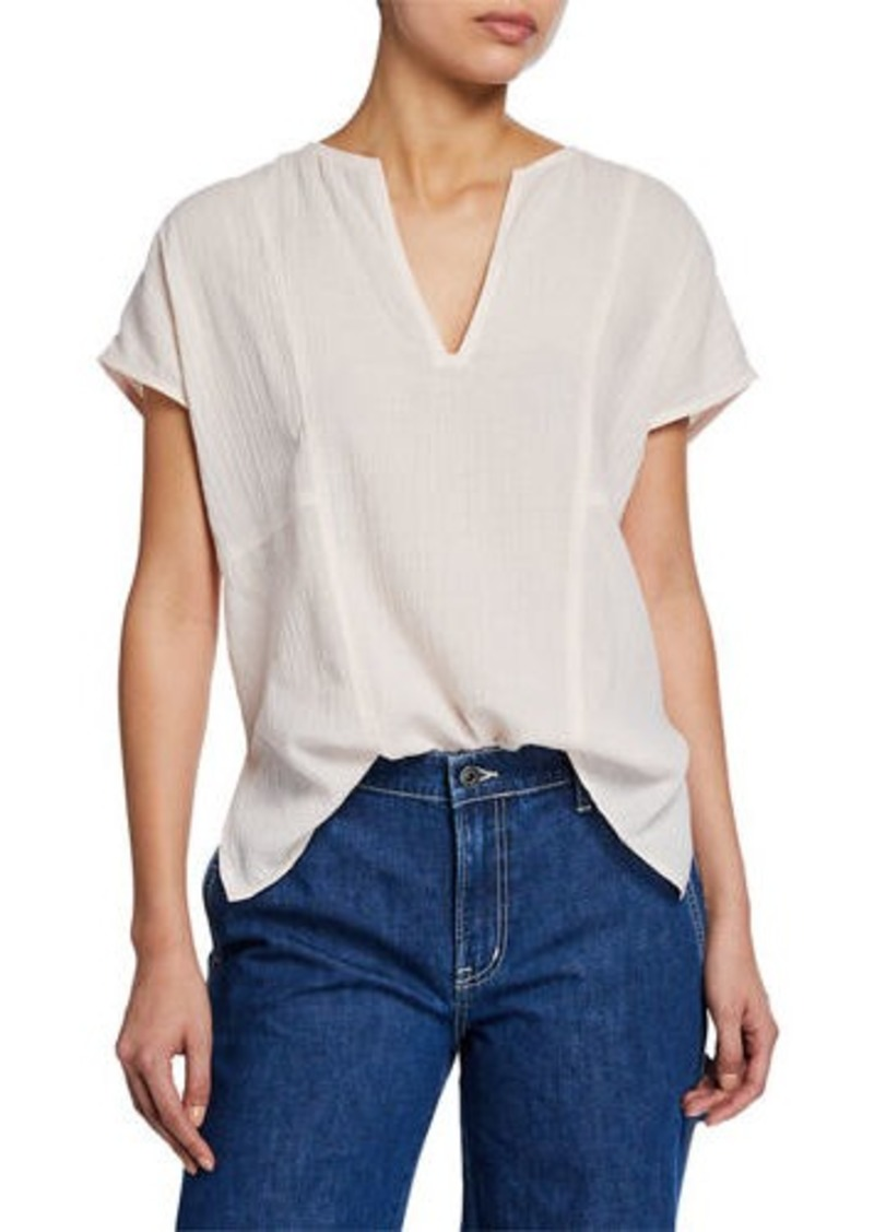 Vince V-Neck Short-Sleeve Seamed Popover Top