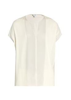 Vince V-neck silk-georgette blouse