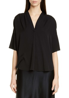 Vince V-Neck Stretch Silk Top