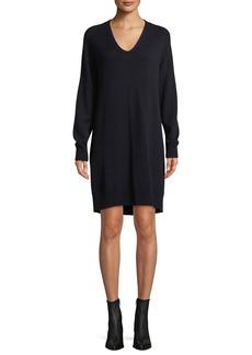 Vince V-Neck Wool-Cashmere Sweater Dress