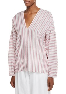 Vince Variegated Stripe Long-Sleeve Pullover Top