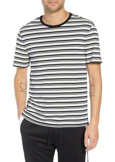 Vince Variegated Stripe Regular Fit Cotton Crewneck T-Shirt
