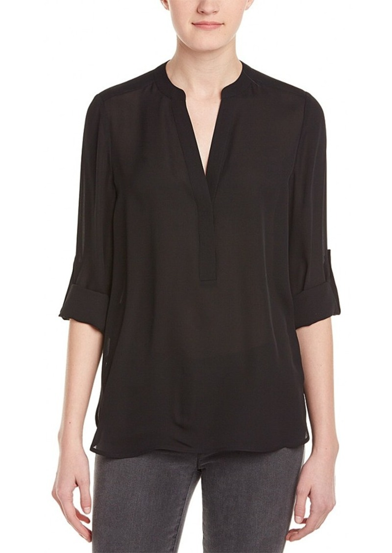 Vince Vince Roll-Sleeve Silk Blouse