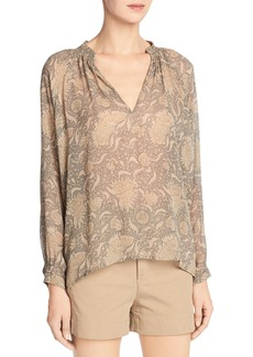 Vince Vintage Floral Pleat-Neck Silk Blouse
