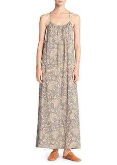 Vince Vintage Floral Shirred Silk Maxi Tank Dress