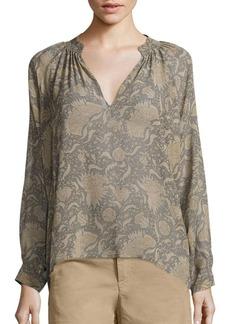 Vince Vintage Floral Silk Blouse